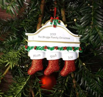 Family of 3 Christmas Stockings - Personalised Christmas Tree Decoration
