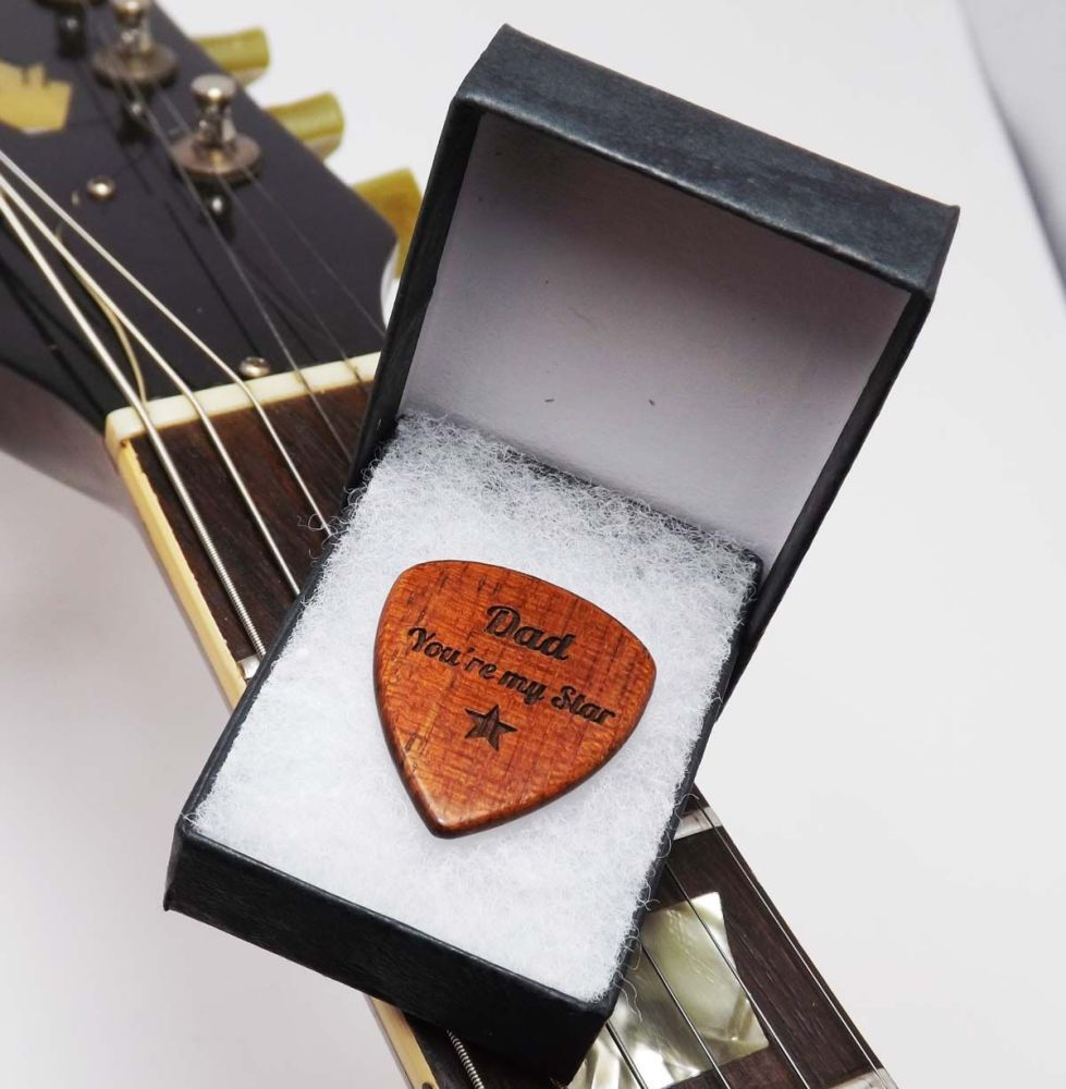 Wooden Guitar Pick / Plectrum engraved with name or message and gift boxed