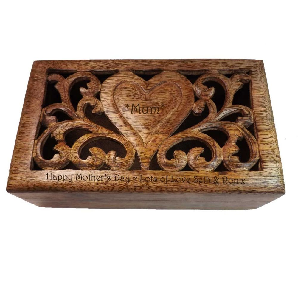 Carved Wooden Keepsake Box with personalised heart - Medium. A perfect Moth