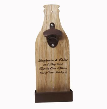 Personalised Wooden Wall Mounted Bottle Opener engraved with a name or message for the perfect Wedding Gift!