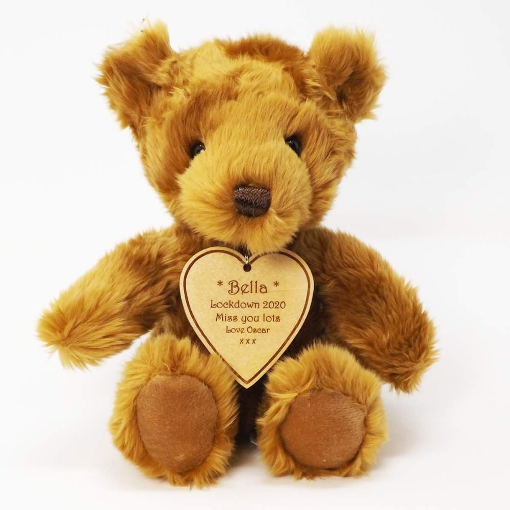 Teddy Bear With Personalised Wooden Heart Shaped Tag, a great Birthday gift