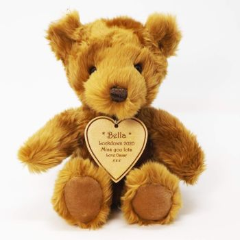 Teddy Bear With Personalised Wooden Heart Shaped Tag, a great Birthday gift.