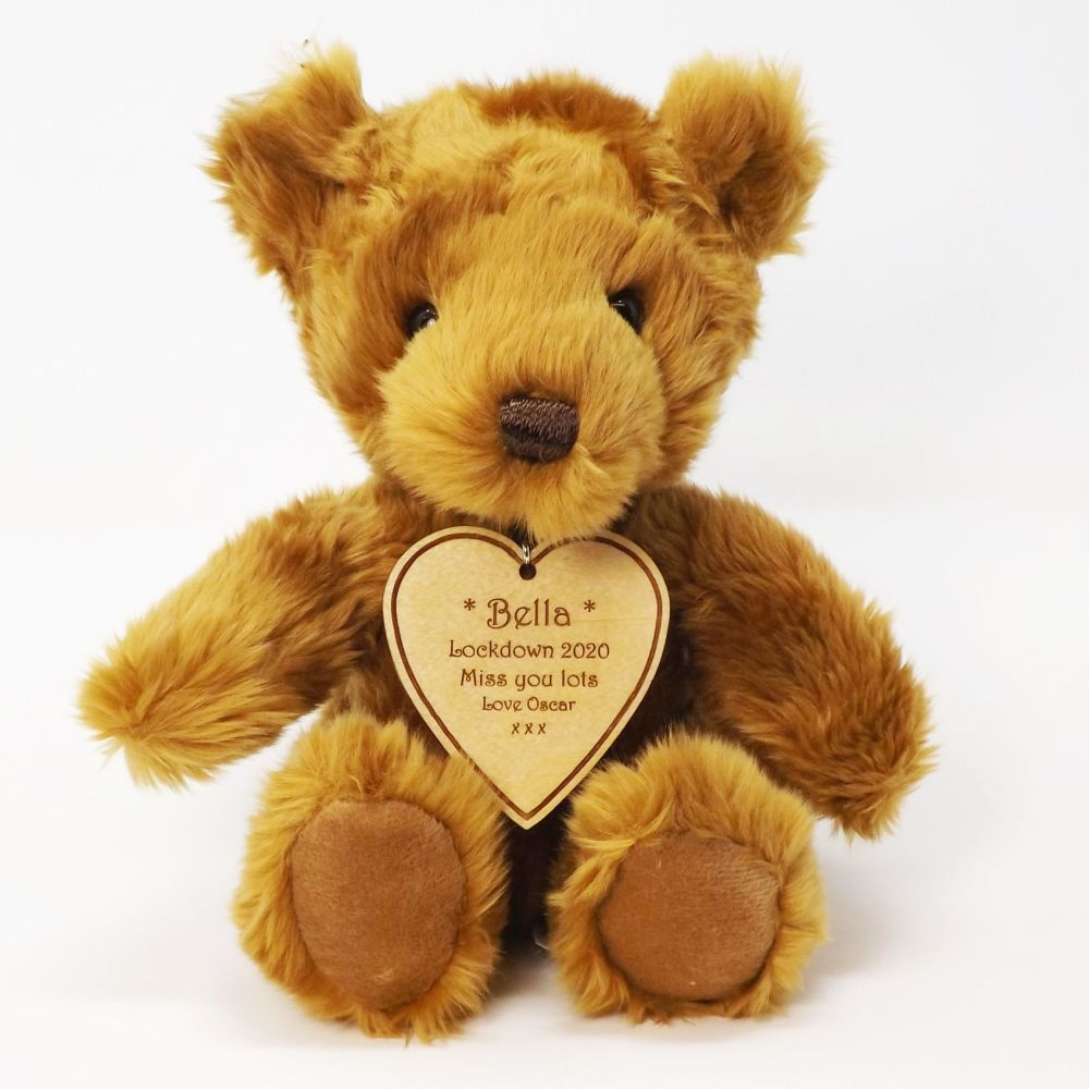 Teddy Bear with Personalised Wooden Heart Tag. A great Mother's Day or a mu