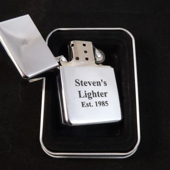 Chrome Petrol Lighter personalised for any occasion.