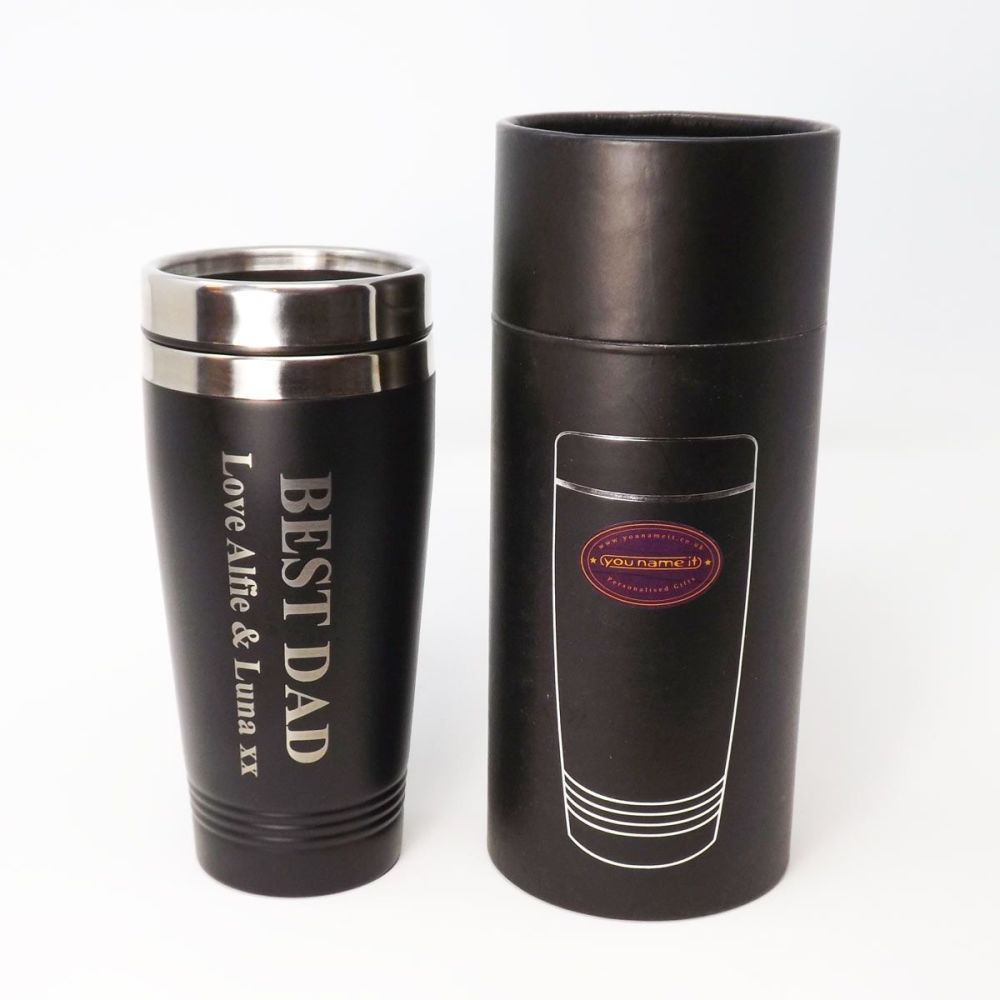 Father's Day Personalised re-usable Black thermal Stainless-Steel travel mu