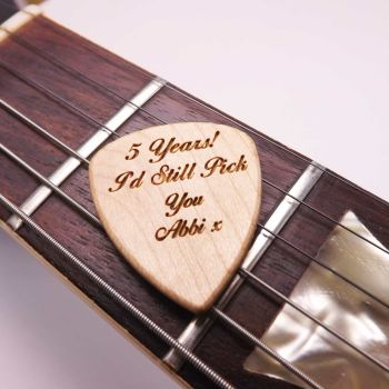 Wooden Guitar Pick Engraved with your name or Message and gift boxed.