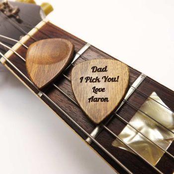 Wooden Guitar Pick Plectrum engraved with name or message and gift boxed