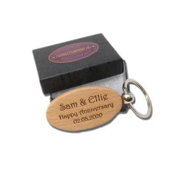 5th Anniversary Personalised Wooden Key Ring