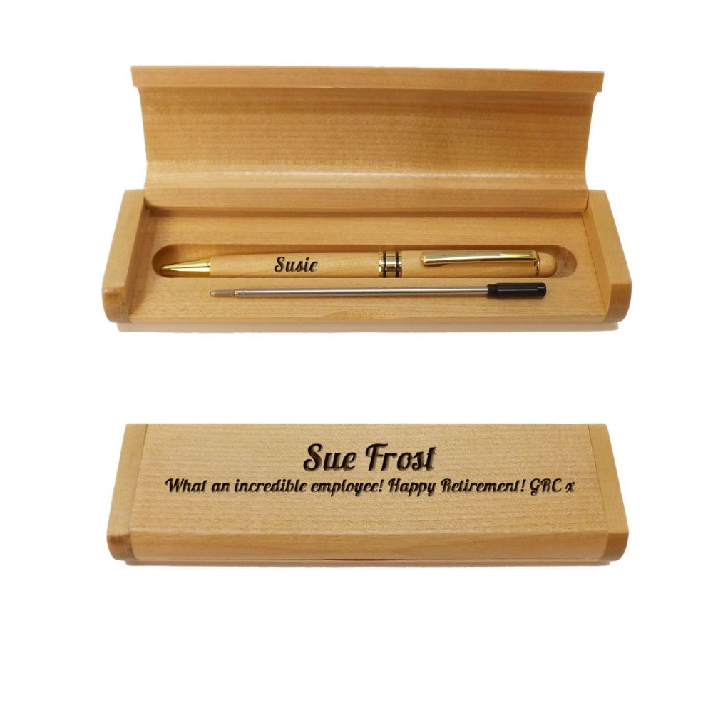 Personalised Retirement Wooden Maple Ballpoint Pen and Box