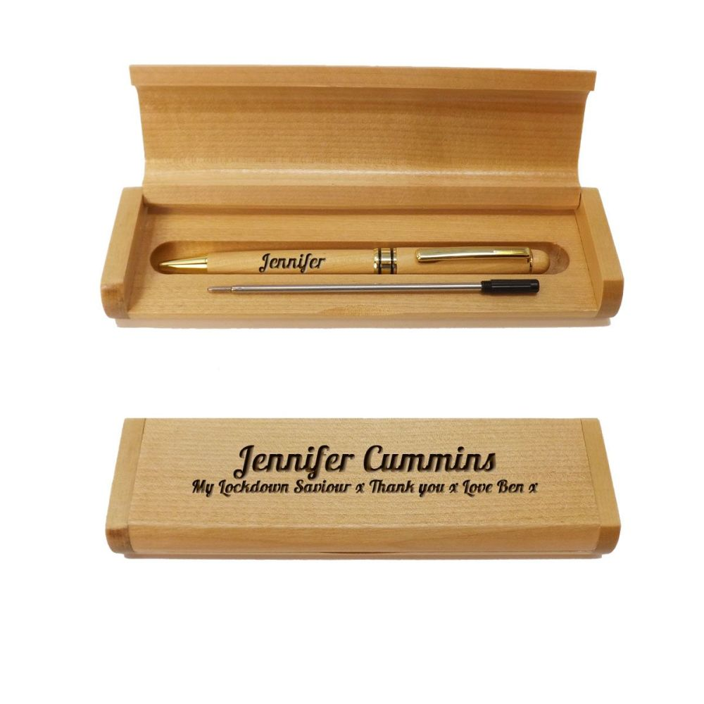 Personalised Wooden Maple Ballpoint Pen and Box makes a great Thank You gif