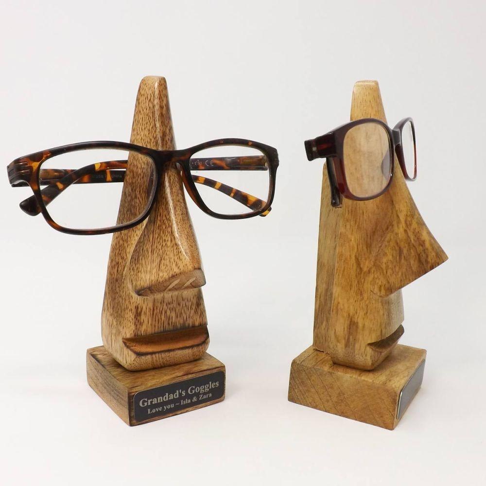 5th Anniversary Personalised Specs Holder -Dark Wood Big Nose