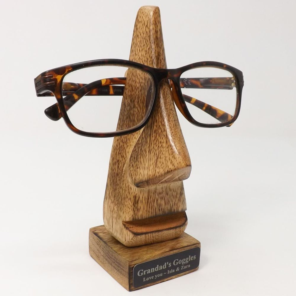 Retirement Personalised Specs Holder -Dark Wood Big Nose