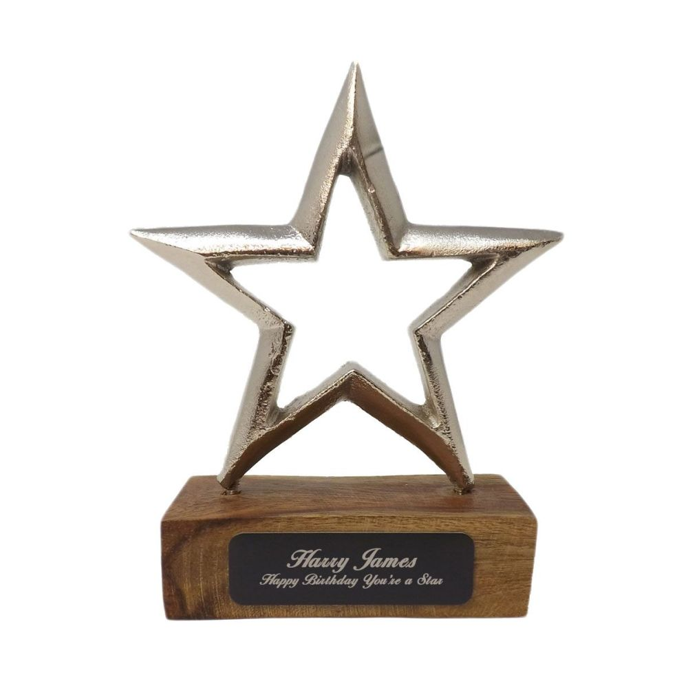 Aluminium Star award & stand with personalised black engraving plate with y