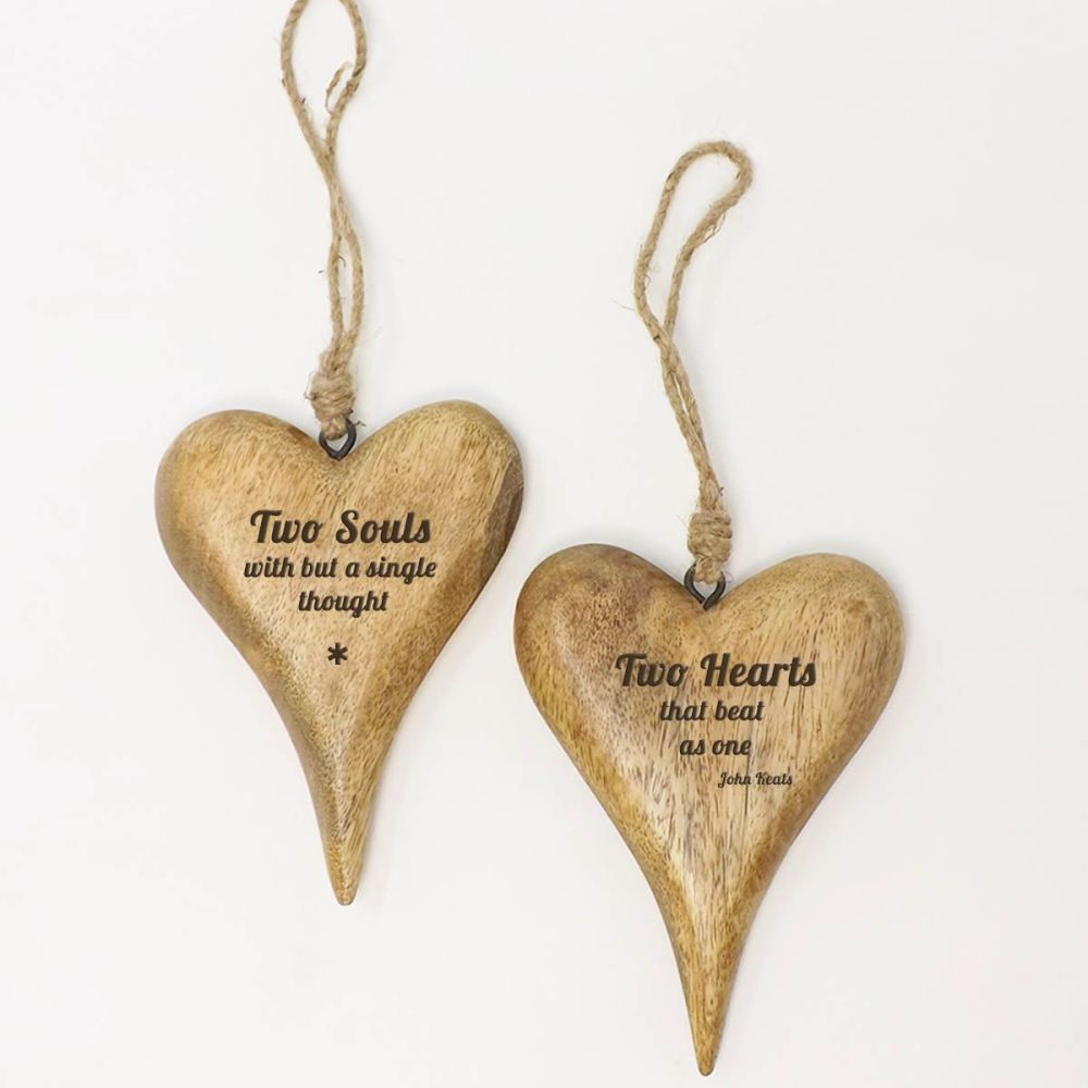 Christmas Special -  2 Personalised Small Hanging Heart in Solid Natural Wo