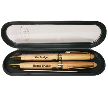 Personalised Double Maple Ballpoint Pen Set