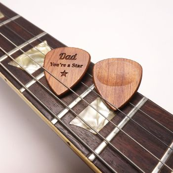 Father's Day Wooden Guitar Pick Personalised with a name or message.