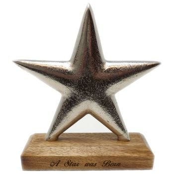 Solid Aluminium Star award & stand with personalised special message