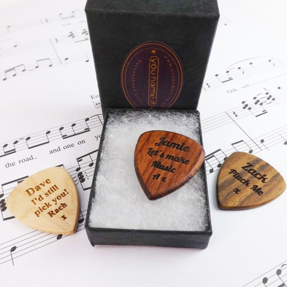 Valentine's Day Wooden Guitar Pick Engraved with your message, gift boxed.