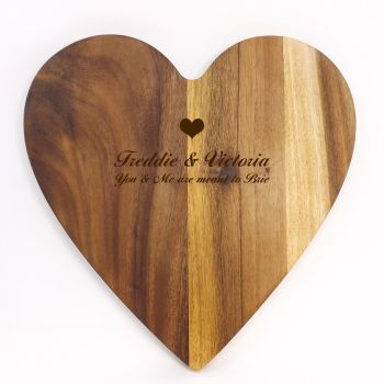 Personalised heart shaped wooden serving board | A practical  Anniversary gift