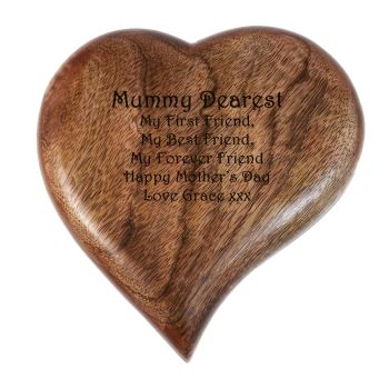 Heart shaped wooden keepsake box personalised with your words