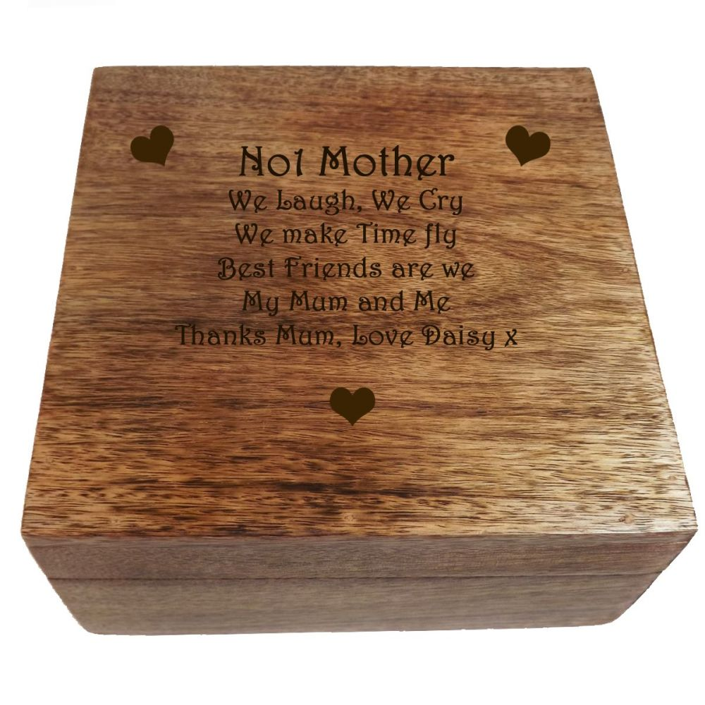 Personalised Wooden Square Keepsake Box, a great Mother's Day gift