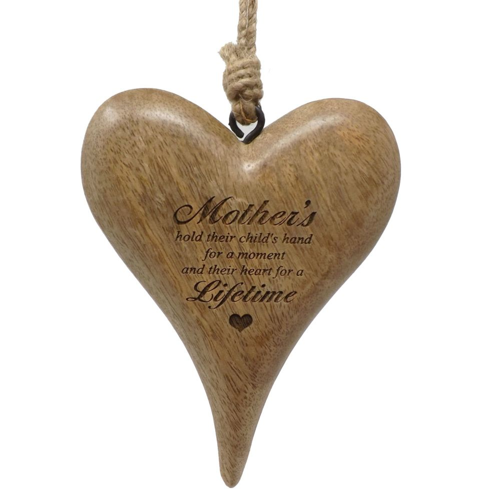 Personalised 16cm Wooden Hanging Heart with Heart - Perfect Mother's Day Gi