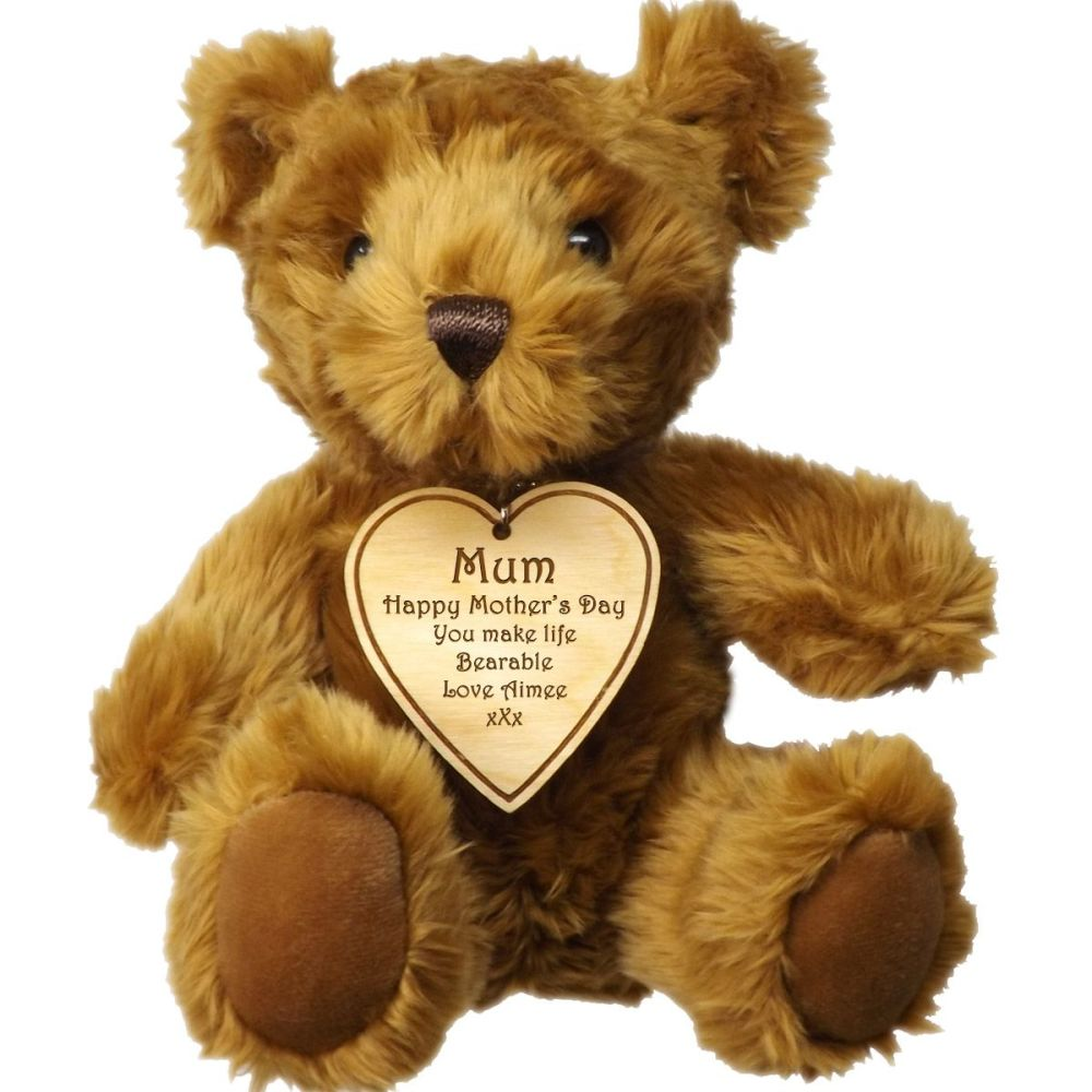 Teddy Bear with Personalised Wooden Heart Tag. A great Mother's Day gift.