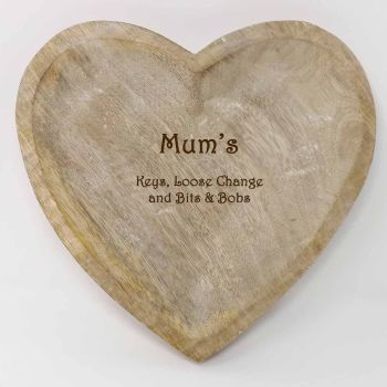 Wooden Heart Shaped Key Bowl Personalised With Names and Message