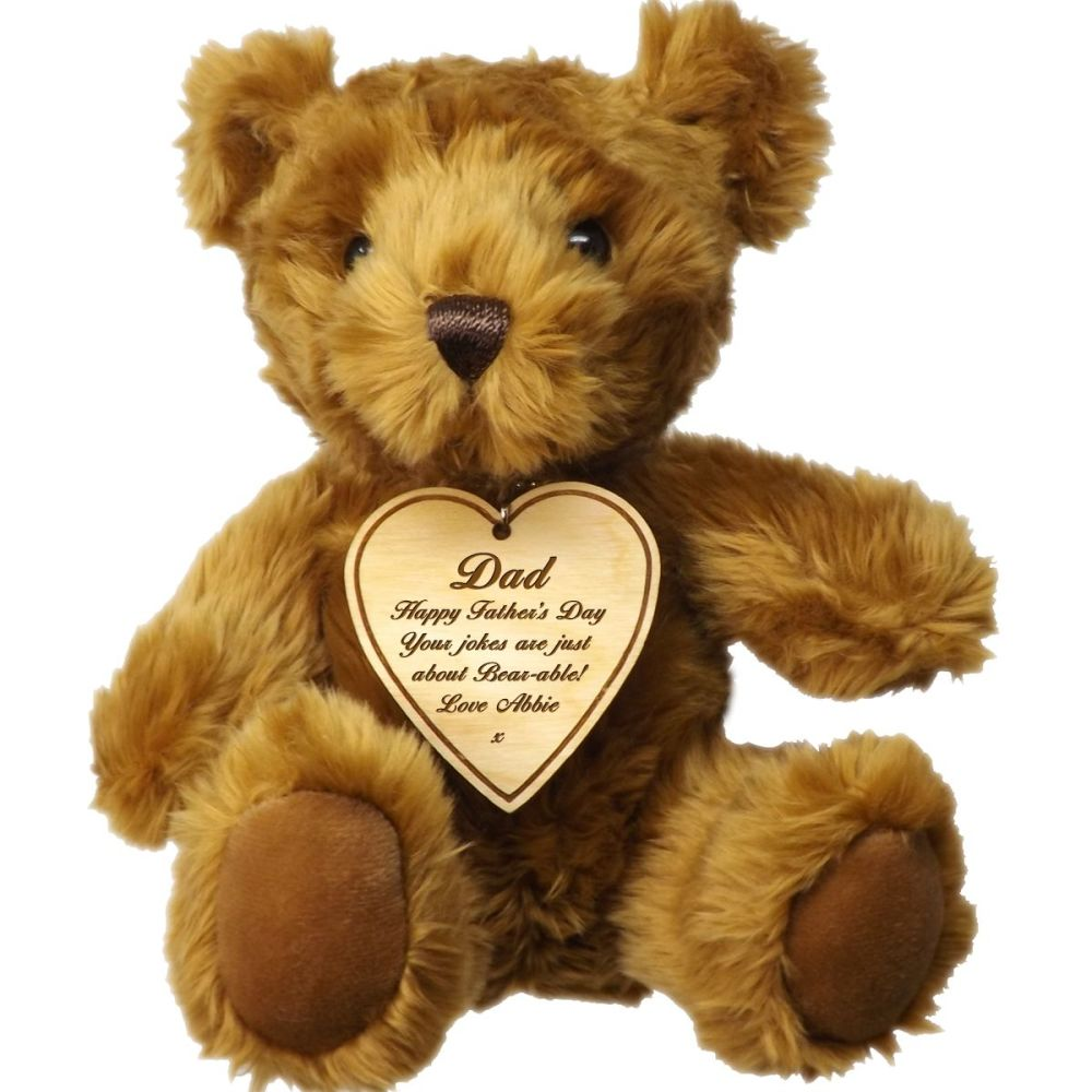 Father's Day Teddy Bear personalised with a wooden tag to put your message