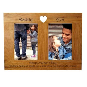Double Oak Photo frame personalised. A unique Father's Day gift.