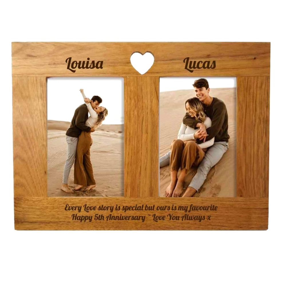 Double Oak Photo frame personalised. A unique 5th Anniversary gift.