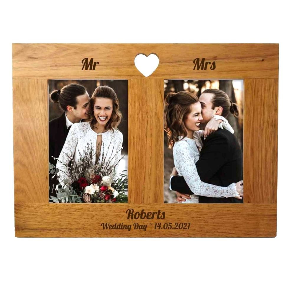 Double Oak Photo frame personalised. A unique Wedding gift.
