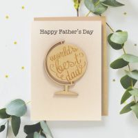 'Worlds Best Dad' Greeting Card with Wooden Globe Detail
