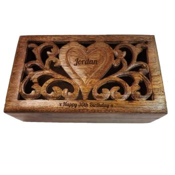 Personalised Solid Mango Wood Box | A Special Birthday Gift - 24cm