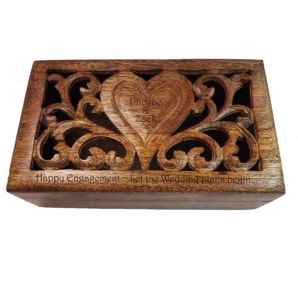 Personalised Solid Mango Wood Box | A Special Engagement Gift