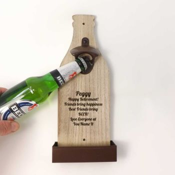 Wall Mounted Bottle Opener personalised with a name and message | A Unique Retirement Gift