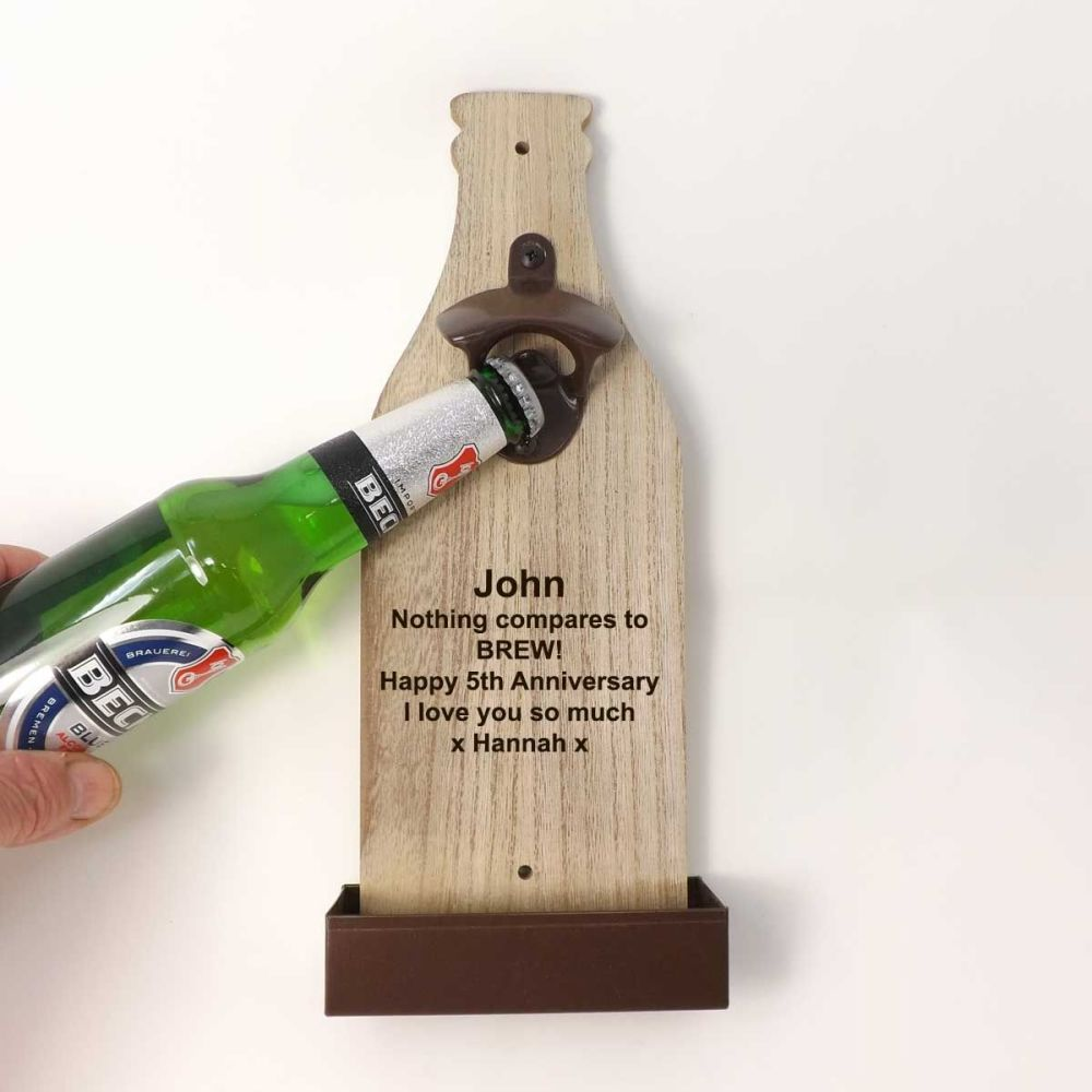 VWall Mounted Bottle Opener personalised with a name and message | A Unique