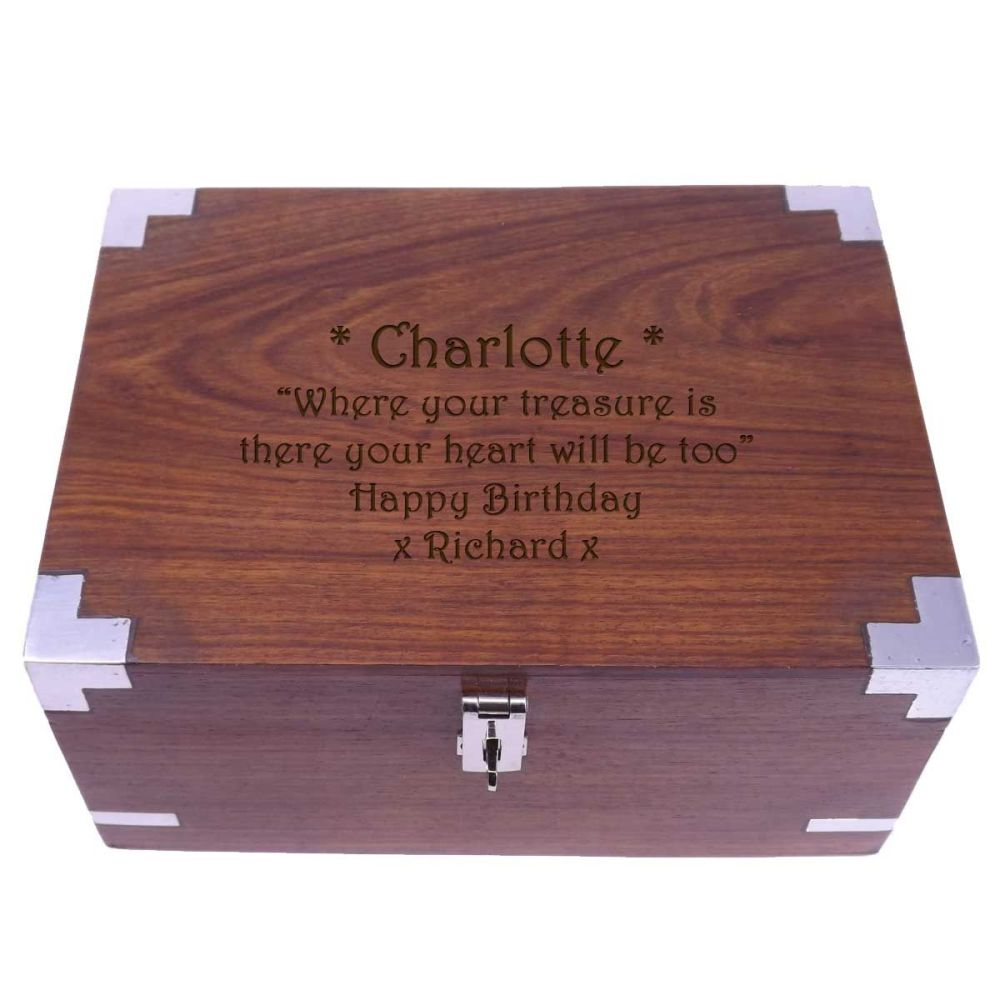 Rosewood Keepsake Box, personalised for a thoughtful and unique Birthday Pr