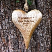 Personalised  Hanging Heart in Solid Natural Wood - Unique Birthday Gift