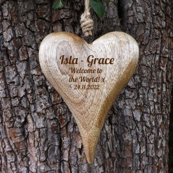 Personalised Hanging Heart in Solid Natural Wood  - A Unique Christening & New Born keepsake