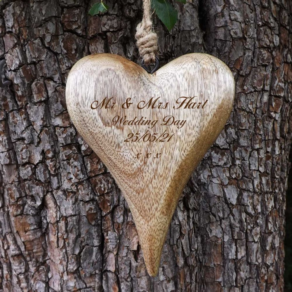Personalised Hanging Heart in Solid Natural Wood - A Unique Wedding Gift
