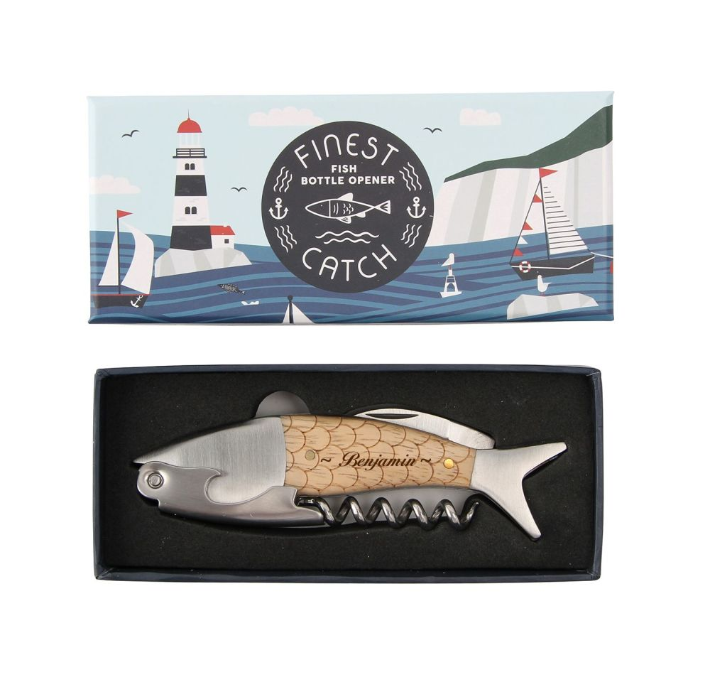 Personalised Fish Bottle Opener/Corkscrew , perfect gift for 5th Anniversar