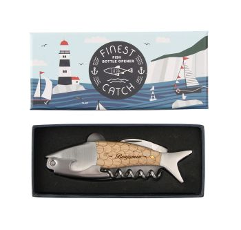 Personalised Fish Bottle Opener/Corkscrew , perfect gift for 5th Anniversary