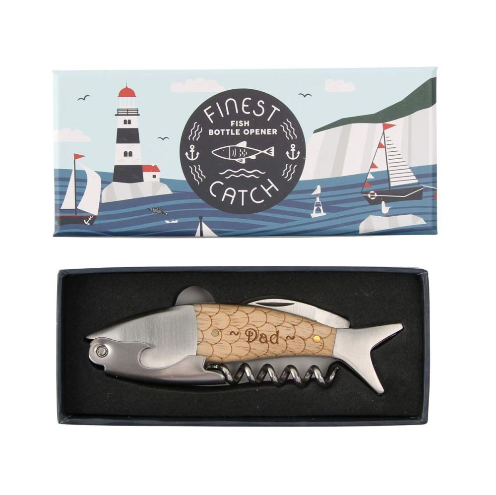 Fish Shaped Bottle Opener Corkscrew Personalized for Father's Day