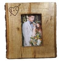 Rustic Picture Frame complete with bark personalised as a unique Wedding Gift