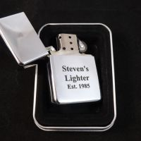 Chrome Petrol Lighter personalised as a Birthday Gift