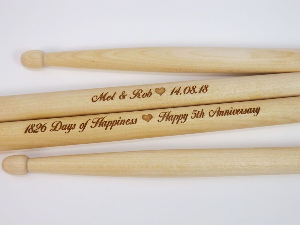 5th Anniversary Personalised Wooden Drumsticks