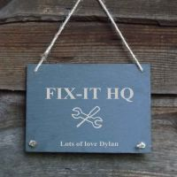 Father's Day Personalised Slate Hanging Garden/Door Sign - 'Fix-it HQ'