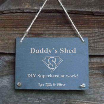 Father's Day Personalised Slate Hanging Garden/Door Sign - 'DIY Superhero'