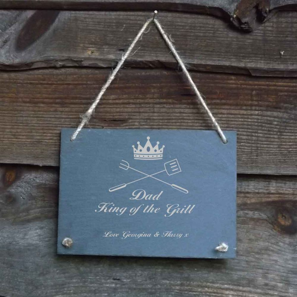 Father's Day Personalised Slate Hanging Garden/Door Sign - 'King of the Gri
